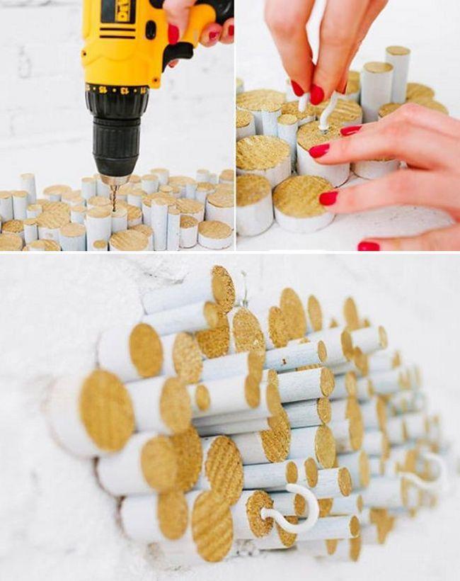 як зробити панно-підвіс для чашок або рушників, а також зробити кашпо з сухих гілок.