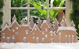Новорічний декор: зимова село з картону, камін з картону